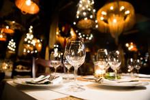 Served Dinner Table. Restaurant Interior