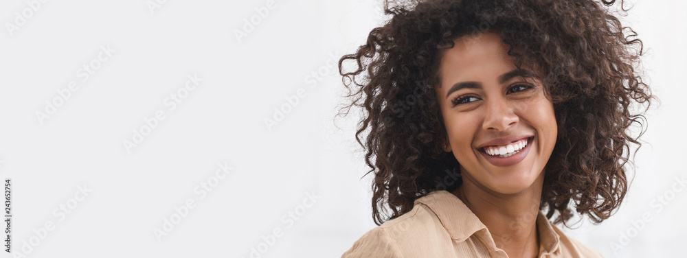 Fototapeta Black girl with white smile, copy space