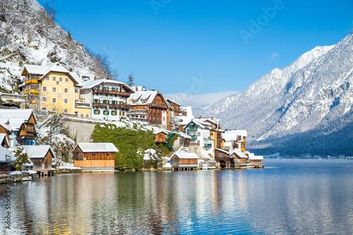 Poster Centraal Europa Hallstatt in winter, Salzkammergut, Austria
