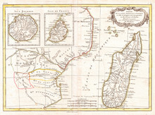 1770, Bonne Map Of East Africa, Madagascar, Isle Bourbon And Mauritius, Mozambique, Rigobert Bonne 1727 – 1794, One Of The Most Important Cartographers Of The Late 18th Century
