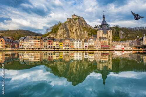 Deurstickers Centraal Europa Historic town of Dinant with river Meuse at sunset, Wallonia, Belgium