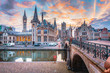 canvas print picture - Sunrise view of Ghent, Flanders, Belgium