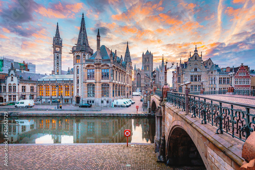 Sunrise view of Ghent, Flanders, Belgium