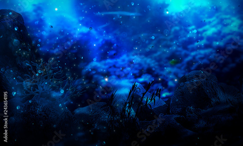 Photo The depth of the sea water, the ocean floor, the rays of the sun through the water, the underwater world, the sea scene