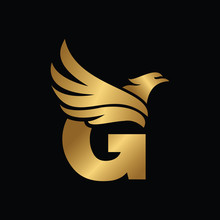 Letter G With Eagle Gold Logotype