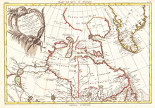 1776, Bonne Map Of The Hudson Bay, Canada, Rigobert Bonne 1727 – 1794, One Of The Most Important Cartographers Of The Late 18th Century