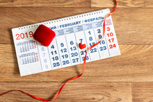 Calendar With Red Heart And Ribbon. February 14