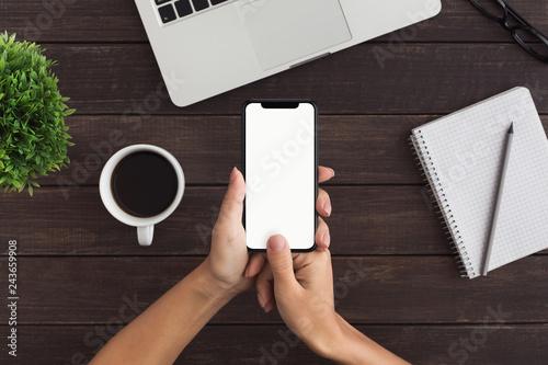 Fototapeta Female hands using smartphone for personal financial transaction obraz