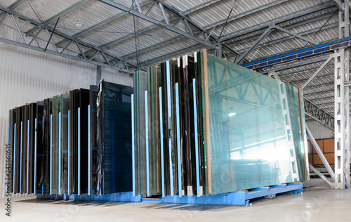 Glasses in industrial glass processing workshop