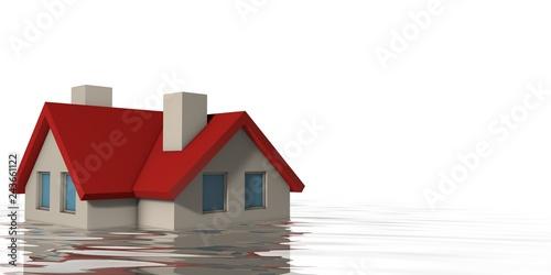 Fotografie, Obraz  Huis onder water
