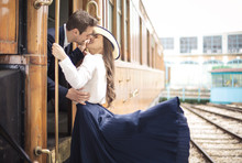 Handsome Man Saying Goodbye To His Girlfriend, Just Before Leaving On A Train