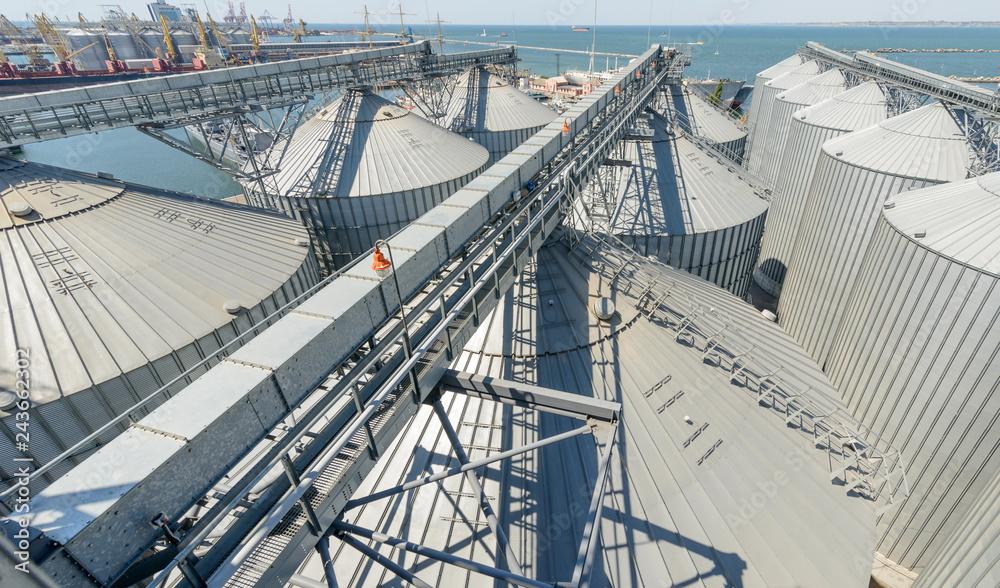 Fototapety, obrazy: Animal feed factory. Big modern granary