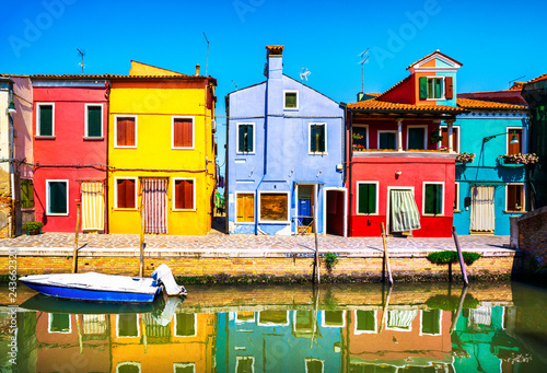 Foto op Canvas Wild West Venice landmark, Burano island canal, colorful houses and boats, Italy