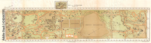 Stampa su Tela 1870, Vaux and Olmstead Map of Central Park, New York City
