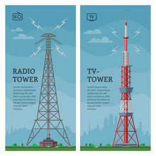 Tower Vector Global Skyline Towered Antenna Construction In City And Skyscraper Building With Network Communication Illustration Cityscape Set Of Towering Architecture Background