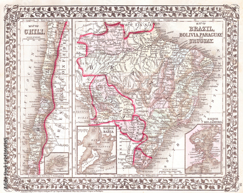 Fototapeta Old Map of South America, Brazil, Bolivia, Papaguay, Uruguay and Chili, 1874, Mi