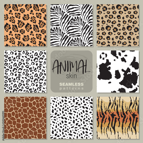 Fototapety, obrazy: Collection of eight vector seamless patterns with animal skin zebra, leopard, jaguar, giraffe cow.