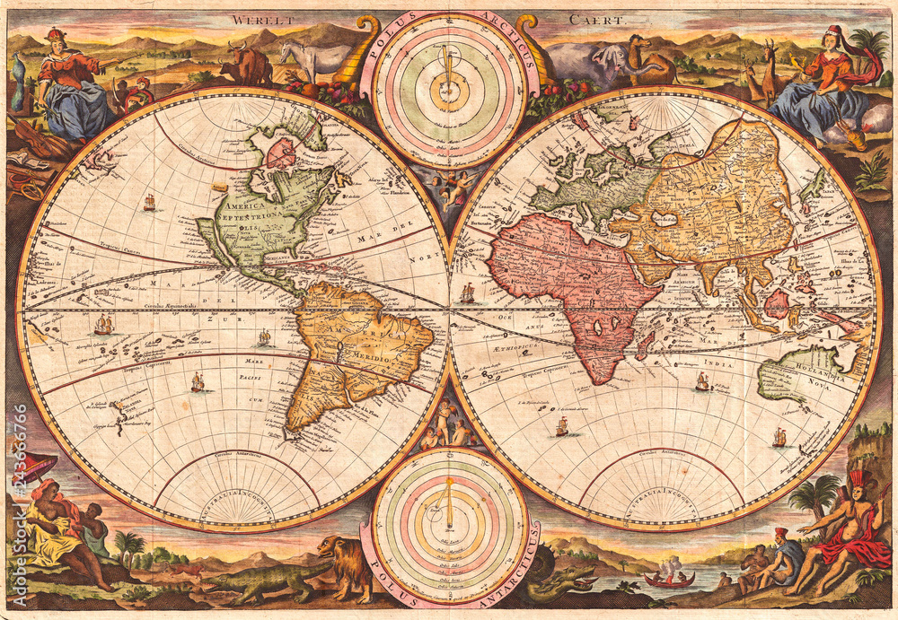 Fototapety, obrazy: 1730, Stoopendaal Map of the World in two Hemispheres