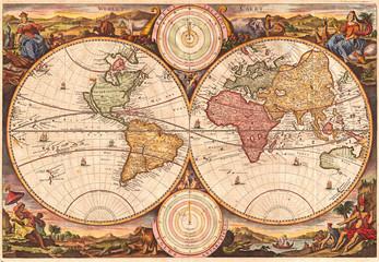 Fototapeta Vintage 1730, Stoopendaal Map of the World in two Hemispheres