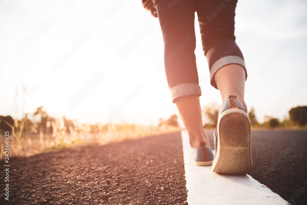Fototapety, obrazy: Closeup woman walking towards on the road side. Step concept.