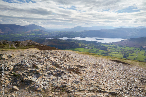 Keswick and Derwent Water from the summit of Barrow in the English Lake District Fototapet