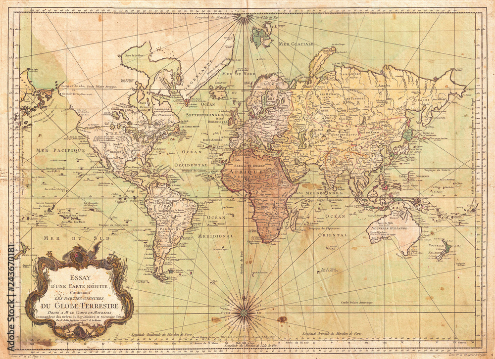 Fototapety, obrazy: 1778, Bellin Nautical Chart or Map of the World