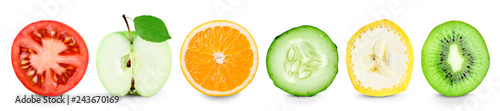 Poster Légumes frais Collection of color fruit and vegetable slices on white