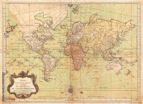 Fotomural  1778, Bellin Nautical Chart or Map of the World