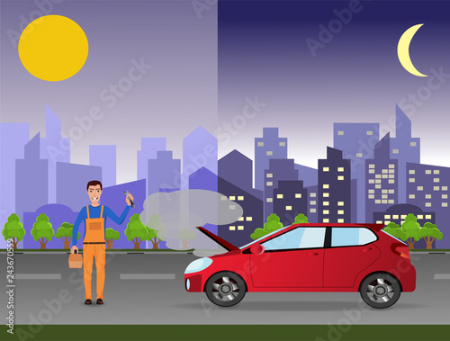 Cadres-photo bureau Avion, ballon 24/7 car service (repair) concept. Repairman in the city near a broken car.