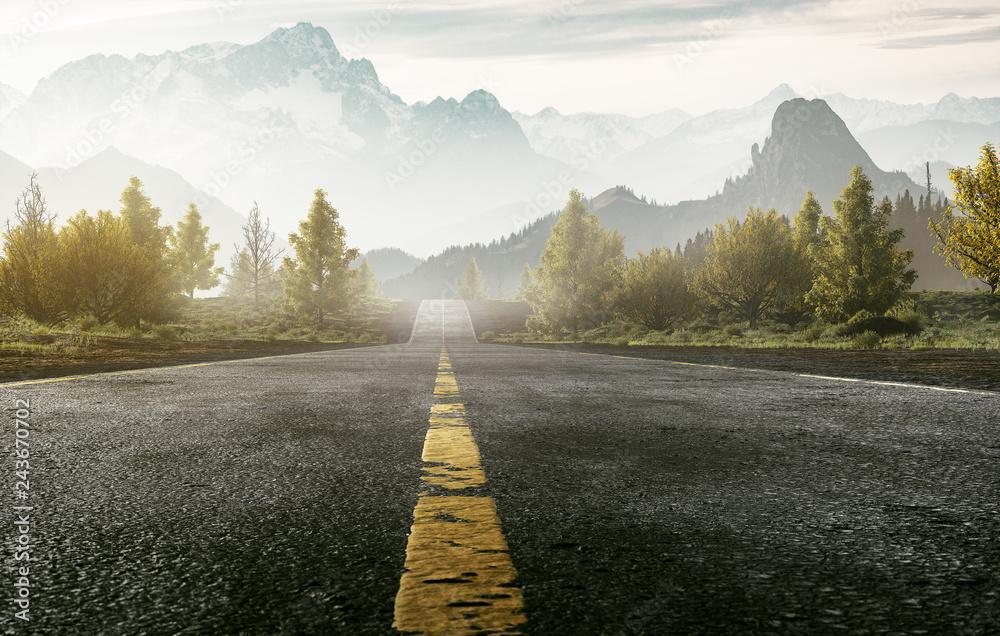 Fototapety, obrazy: Straße führt ins Gebirge