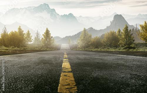 Fotografie, Obraz Straße führt ins Gebirge