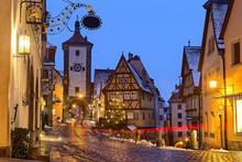 Rothenburg Ob Der Tauber Medieval Famous German Town At Night In Germany Bavaria