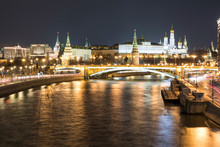 Russia, Moscow, Panoramic View Of Moskva River And Kremlin At Night