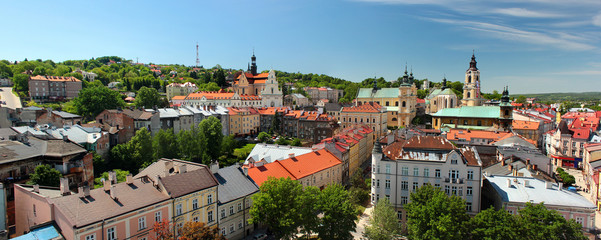 Old Town of Przemysl, Poland. Panorama from the Clock Tower.