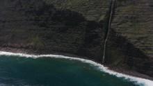 Molokai, Hawaii Circa-2018.  Aerial View Of Molokai Coast With Beautiful Waterfalls.  Shot With Cineflex And RED Epic-W Helium.