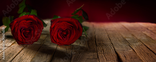 Valentines Day At Trader Rose >> Valentine S Day Banner Red Roses On Wooden Floor Buy This Stock