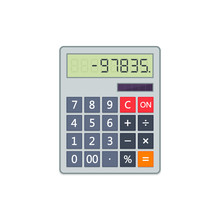 Calculator In Flat Style Isolated On A White Background. Vector Electronic Portable Calculator