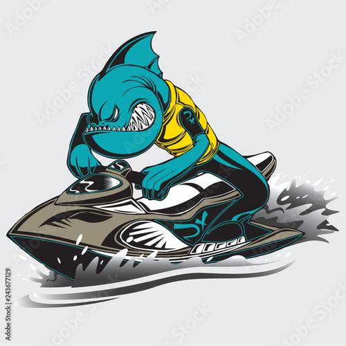 Piranha on a jet ski Tableau sur Toile