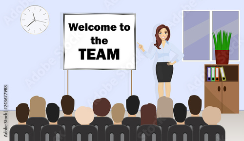 Fototapeta Business woman stands near presentation board with text Welcome to the team