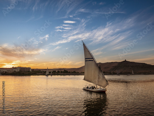Sunset on the Nile River in Aswan City near Luxor and Cairo Canvas Print