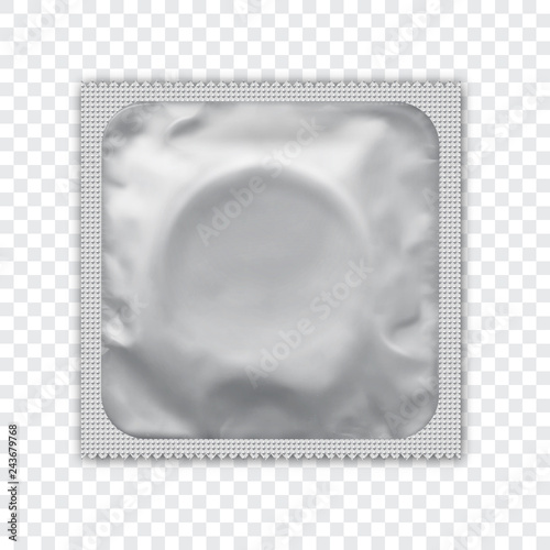 Cuadros en Lienzo White  foil wrapped condom realistic vector packadge mock up