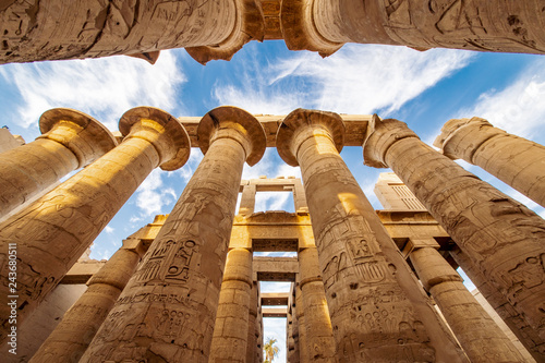 Wall Murals Place of worship The great columns at the Karnak Temple in Luxor Thebes Egypt