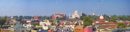 Panoramic view of Taj Mahal in the Indian city of Agra, Uttar Pradesh, India Canvas Print