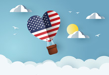 Heart Air Balloon With Flag Of United States Of America For Independence Day Or Something Similar