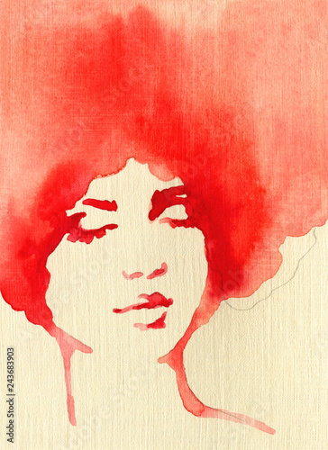 Spoed Fotobehang Aquarel Gezicht beautiful woman. fashion illustration. watercolor painting
