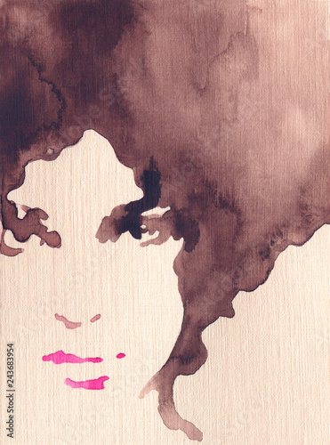 Poster Aquarel Gezicht beautiful woman. fashion illustration. watercolor painting