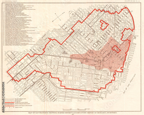 Photo  1907, Geological Survey Map of San Francisco after 1906 Earthquake