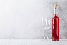 Rose Wine Bottle And Glasses