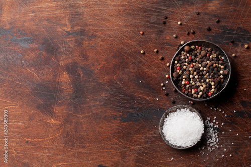 Foto op Canvas Aromatische Spices for meat. Salt and pepper