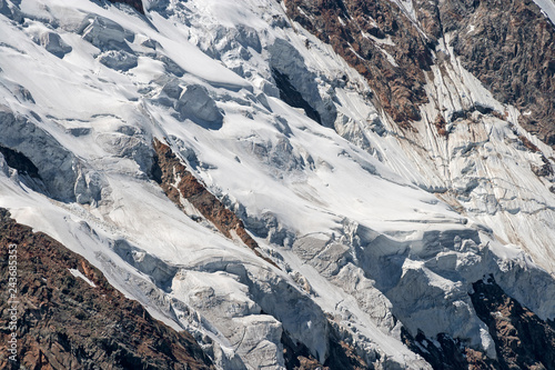 Valokuva  Panoramic view of the imposing east face of Monte Rosa above Macugnaga in Piedmont, Italy